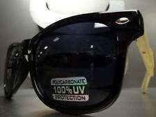 Mens or Women VINTAGE 70's RETRO SUN GLASSES Black & Bamboo Wood Frame Dark Lens