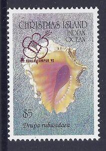 1992 CHRISTMAS ISLAND $5 SHELL WITH KL '92 OVERPRINT FINE MINT MNH