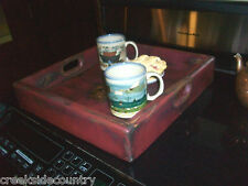 Rustic Country Primitive Wood Stove Top Cover or Serving Tray for Coffee