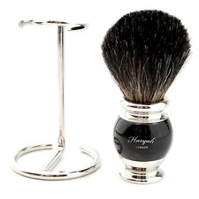 Black Badger Hair Shaving Brush, Handmade in england,Steel  Stand & Gift Box