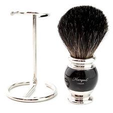 Negro pelo de tejón brocha de afeitar, hecho a mano en Inglaterra, Soporte De Acero & Caja De Regalo