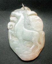 NATURAL GREEN, WHITE& RED JADE CHINESE HORSE ON GOLD CARVING PENDANT/COLLECTIBLE