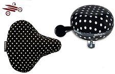 Set :Basil Fahrradklingel BIG BELL und Satteldecke black & dots