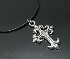 Gothic Silver Plated Cross Black Rubber Chain Designer Mens Womens Necklace