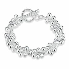 Fashion 925Sterling Solid Silver Jewelry Grape T-O Bracelet For Women H019