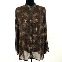 Chicos Design 2 Womens Button Front Tunic Top Mandarin Collar Sheer Brown