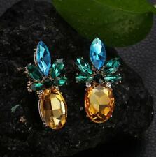 Crystal Stone Pineapple Stud Earrings Diamante Bridal Rhinestone Ear Studs Prom