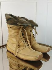 RUSSELL & BROMLEY Womens Trapper Boots Tan Fur Lined UK 7 40 Leather Brown Fur