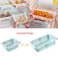 Kitchen Fridge Organizer Storage Box Freezer Space Saver Slide Rack Shelf Holder