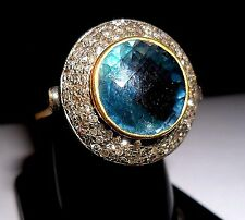 Vintage Reproductions 14k Gold & silver Ring Blue Topaz & Real Diamond Champagne