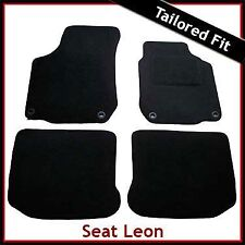Seat Leon Mk1 1999-2005 Oval Eyelets Tailored Carpet Car Floor Mats BLACK
