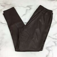 DG2 Diane Gilman Brown Faux Leather Skinny Pants Size Large Elastic Waist
