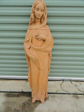 "Hand Carved Statue Virgin Mary ~ Ortisei,Italy ~ 48"" ~ Wall Hanging"