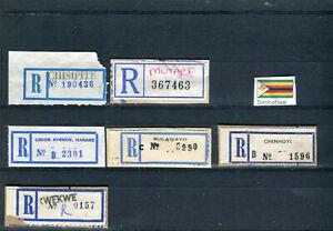 SIMBABWE, 6 alte R-Zettel, verschiedene Typen, sehr selten