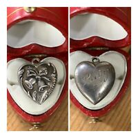 """Vintage 1940's Sterling Silver Repousse Puffy Heart Charm Wedding Bells """"Lucky"""""""