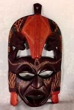 """Decorative Colourful Tribal Mask African Art Home Decor Wall Hanging 9 1/4""""T"""