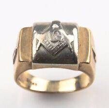 Vintage Craft 10k Yellow & White Gold 3° Master Mason Ring (Sz 8) Square Compass