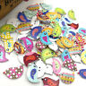 50/100Pcs Mix Animal Birds 2 Holes Wood Sewing Buttons scrapbooking WB343