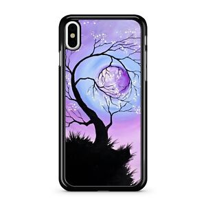 Stunning Space Tree Holding Pretty Purple Fabulous Full Moon 2D Phone Case Cover