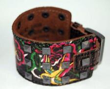 "Ed Hardy Christian Audigier Flower & Bird Black Leather Bracelet, NIB EH5044 9"""