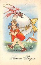B95032 buona pasqua easter girl with big egg italy