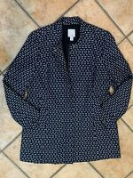 HALOGEN NORDSTROM NAVY BLUE WHITE JACKET BLAZER SUIT TWEED ZIP WOMENS S 4 6 LN