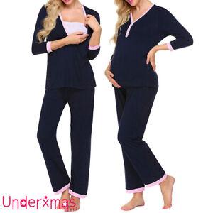 Women Nursing Maternity Breastfeeding Nightwear Pyjama Set Tops+Pants Loungewear