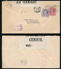 USA WW1 PERFIN JSB 1918 CENSORED to HOLLAND...FOREX BOXED