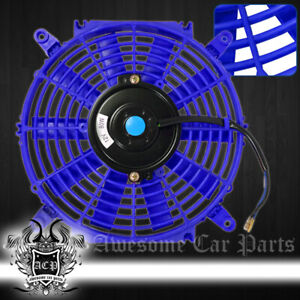 """For Nissan 10"""" Inch Eletric Fan High Power Abs Plastic Radiaotr Cooler 80W Blue"""