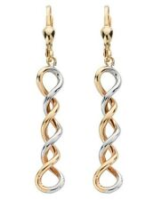 9ct Yellow & White Gold Hollow Spiral Coil Drop Earrings Weight 2.0g Hallmarked