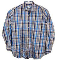 Peter Millar Long Sleeve Oxford Sport Shirt Plaid Mens Sz XL Blue Orange EUC