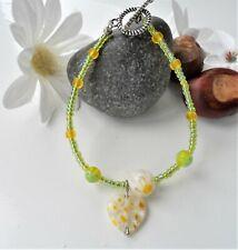 Handmade Glass Bead Bracelet ~ Lampwork Green Yellow Beads with Toggle ~ NEW