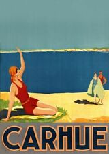 """Vintage Illustrated Travel Poster CANVAS PRINT Fly Carhue beach girl 24""""X16"""""""
