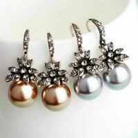 Women Irregular Pearl Earrings Circle Geometric Drop Dangle Earring Jewelry Gift
