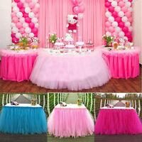 L183cm * H77cm NSSONBEN Tutu Tulle Blue Table Skirt Cover 6FT for Baby Shower Princess Birthday Wedding