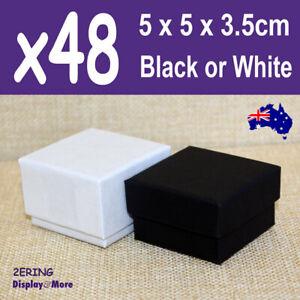 Ring Box JEWELLERY Gift Case | 48pcs BULK 5x5cm | PLAIN Black White | AUS Stock