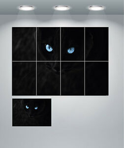 Black Cat With Blue Eyes Giant Wall Art Poster Print