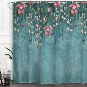 Nice Blue Weeping Pink Floral Vines Boho Chic Farmhouse Fabric Shower Curtain