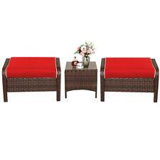 3 PCS Patio Rattan Wicker Furniture Set Ottoman Coffee Table Cushioned Yard