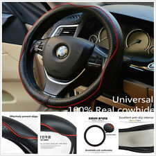 Universa Black & Red Genuine Leather Car Steering Wheel Cover Anti-slip Sleeve
