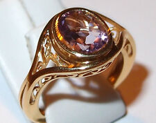 Bezel-set Amethyst solitaire (1.75ct), in gold overlay Sterling Silver. Size M.