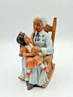 """HOMCO Figurine African American Grandmother Holding Child Bisque Porcelain 6"""""""