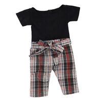 Doll Black Short Sleeve T-shirt Plaid Pants Set for AG American Doll 18'' Dolls