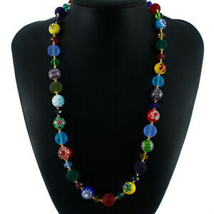 Murano Glass Necklace Bracelet Earrings Multi Coloured Beads Individual or Set