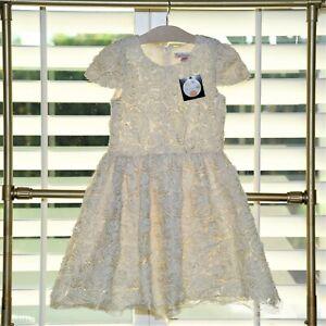 Halabaloo Girls Ivory Rosette Sparkle Christmas Dress Size 10 Nwt