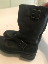 Frye Womens Leather Buckle Closure Ankle Biker Boots Black Size 6