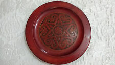 VINTAGE HAND CARVED wood plate/piatto colore rosso
