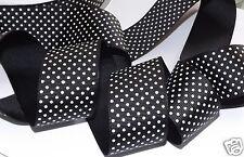 """1.5"""" Black w/White Pin Dot Print Ribbon, Hairbows, Clothing Scrapbooking Crafts"""