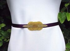 Purple Gold Beaded Belt Sash 1920s Flapper Dress Great Gatsby Bridesmaid 3341