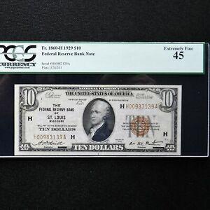 1929  $10  FRBN  St. Louis, Fr # 1860-H (HA Block) Jones/Woods PCGS 45 Ext Fine